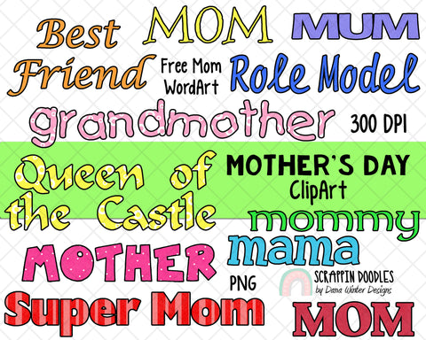 Mothers Day Clipart - Spring ClipArt - Mom Clipart - Mum Clipart - Mothers Day Sublimation Designs - Mothers Day Gifts