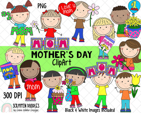 Mothers Day Clipart - Mothers Day Kids ClipArt - Mom Clipart - Mum Clipart - Mothers Day Sublimation Designs - Mothers Day Gifts