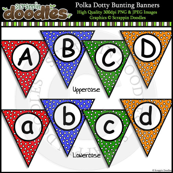 Polka Dotty Editable Bunting Banners– Scrappin Doodles