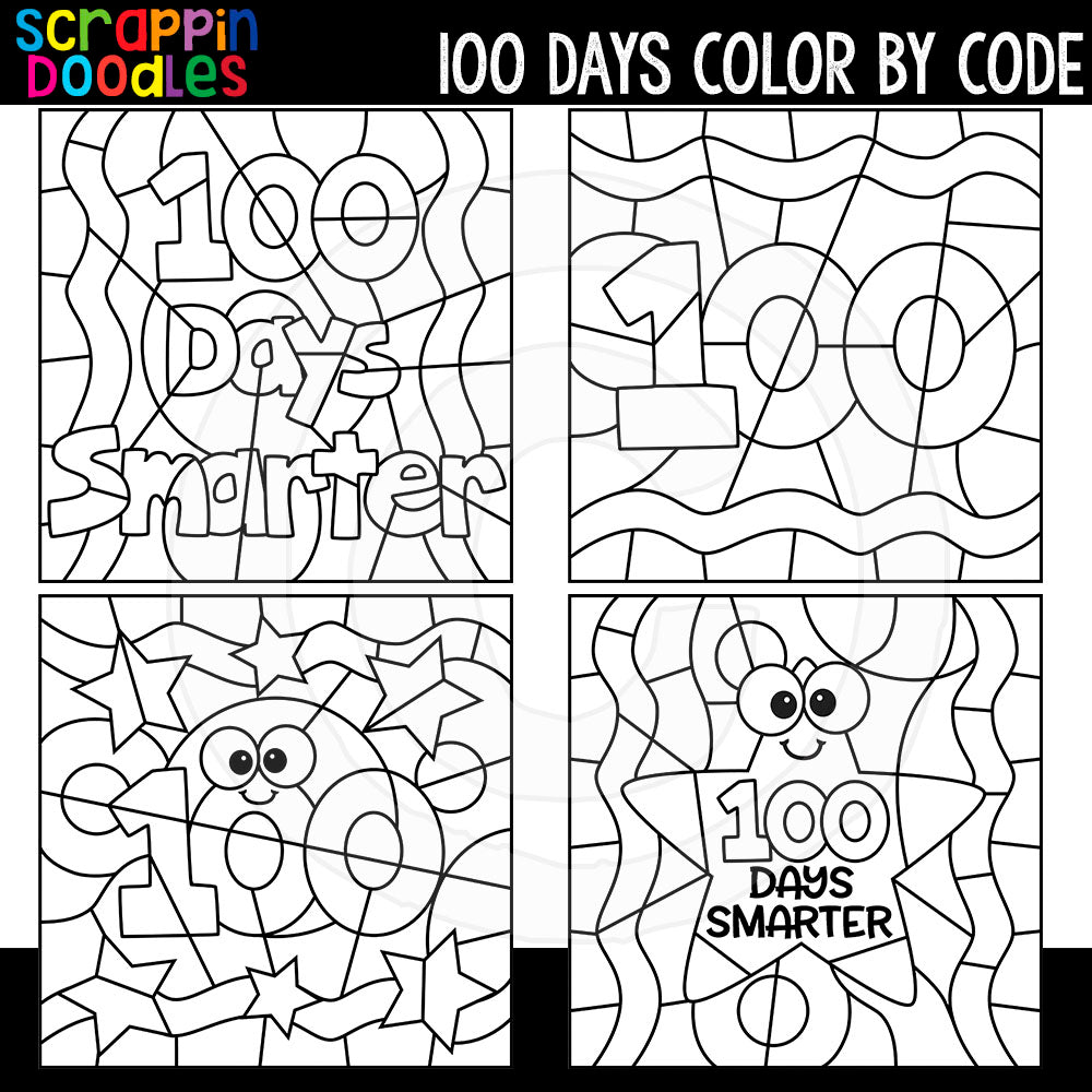 100 Days of School Color By Code Templates Commercial Use