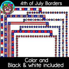 4th of July USA Borders Clipart