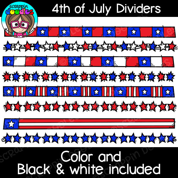 4th of July USA Dividers Clipart