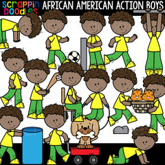 African American Action Boys Clipart