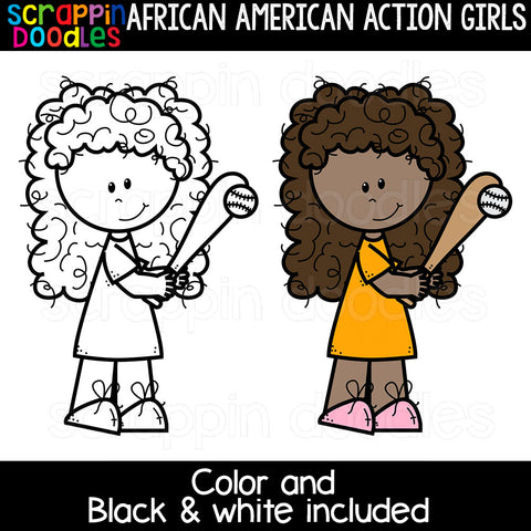 African American Action Girls Clipart