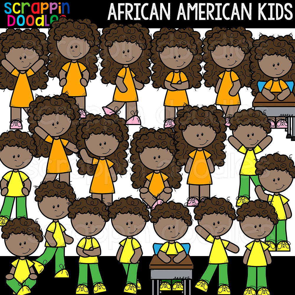 African American Kids Clip Art Commericial Use Multicultural Children