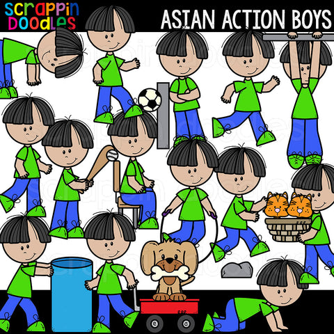 Asian Action Boys Clipart