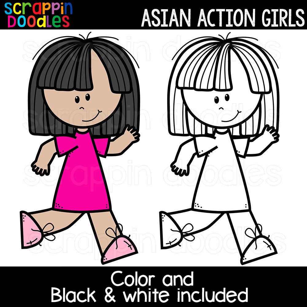 Asian Action Girls Clipart