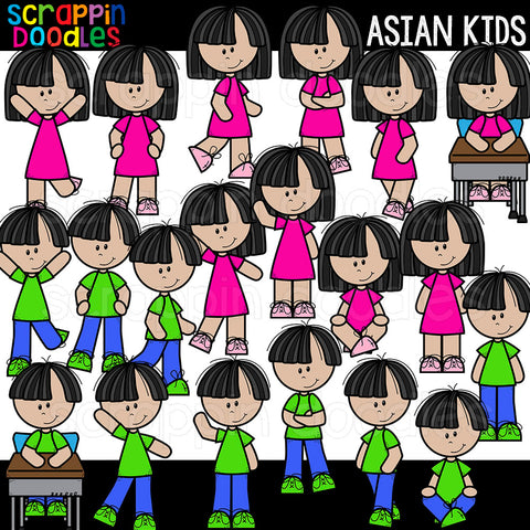 Asian Kids Clip Art different poses commercial use multicultural
