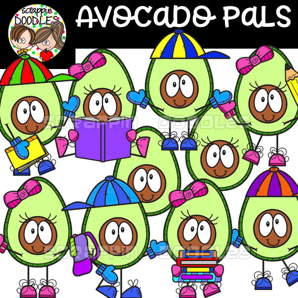 Avocado Pals - Food Character Clip Art