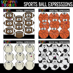 Sports Ball Facial Expressions Clip Art Bundle