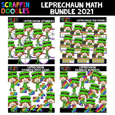 Leprechaun Math Clip Art Bundle 2021