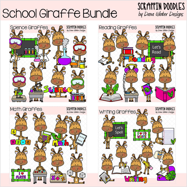 School Giraffes Clip Art Bundle