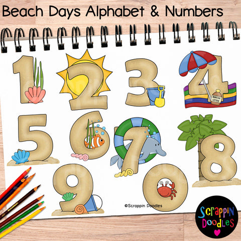 Beach Days Summer Alphabet Clip Art