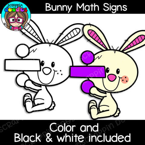 Bunny Math Signs Clipart