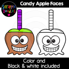 Halloween Candy Apple Faces Clip Art Expressions Emotions