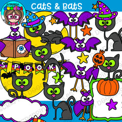 Cats and Bats Halloween clip Art