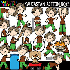 Caucasian Action Boys Clipart
