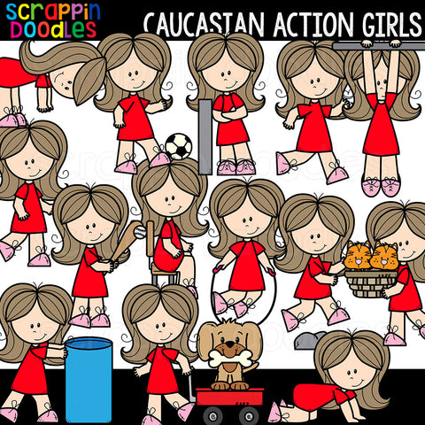 Caucasian Action Girls Clipart