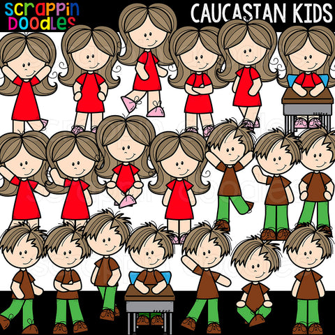 Caucasian Kids Clip Art Commercial Use Multicultural Children