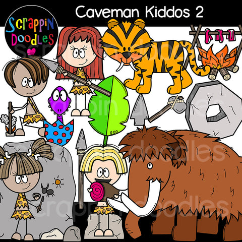 Caveman Kiddos 2 Clip Art cavemen prehistoric wolly mammoth