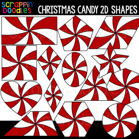 Christmas Candy 2D Shapes Clipart