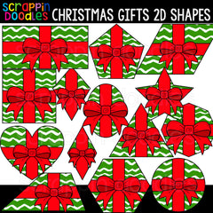 Christmas Gifts 2D Shapes Clipart
