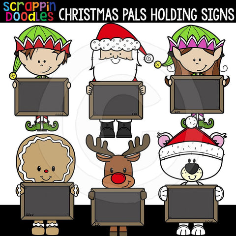Christmas Pals Holding Chalkboard Signs Commercial Use Clip Art