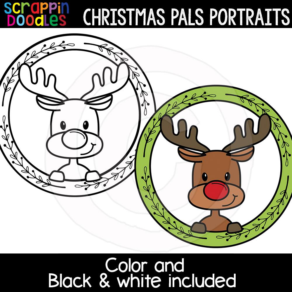 Christmas Pals Portraits Clip Art