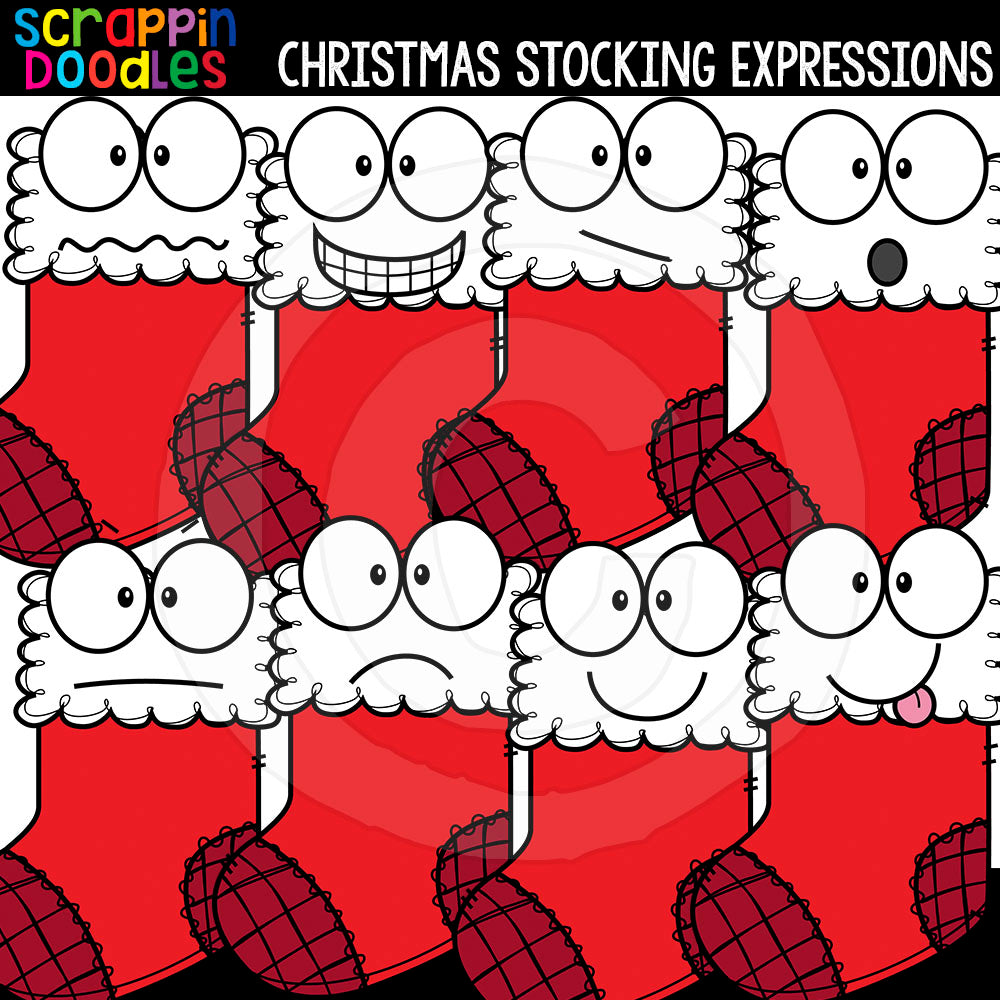 Christmas Facial Expressions Clip Art Bundle Emotions Ornaments Lights Wreaths Stockings