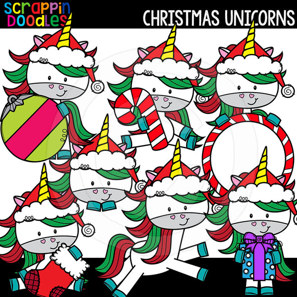 Christmas Unicorn Clip Art Cute Unicorns