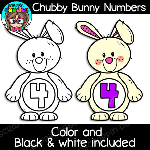 Chubby Bunny Numbers Clipart