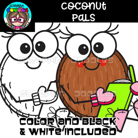 Coconut Pals Clip Art Cute Coconut Graphics