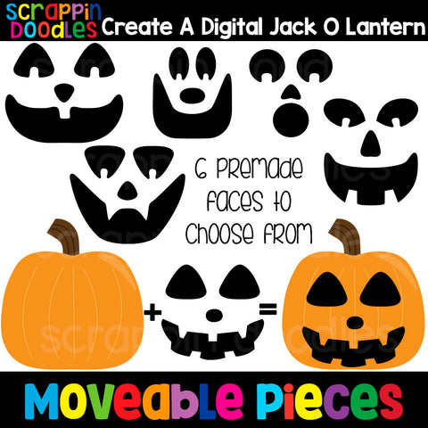 MOVEABLE IMAGES - Create a Digital Jack O Lantern Clip Art