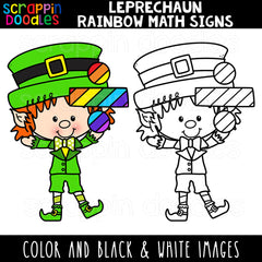 Leprechaun Rainbow Math Signs Clip Art