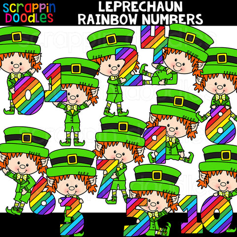 Leprechaun Rainbow Numbers Clip Art