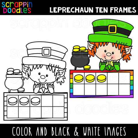Leprechaun Ten Frames Clip Art