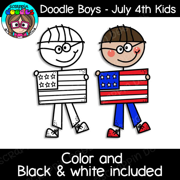 Doodle Boys - 4th of July USA Kids Clip Art
