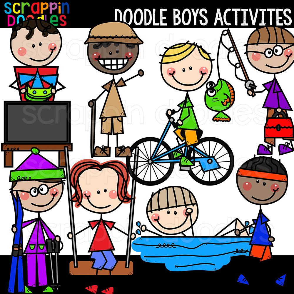 Doodle Boys Activities Clip Art Commercial use hiking cycling fishing skiing swimming running