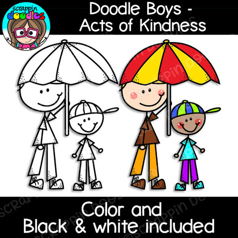 Doodle Boys - Acts of Kindness Clip Art stick kids figures