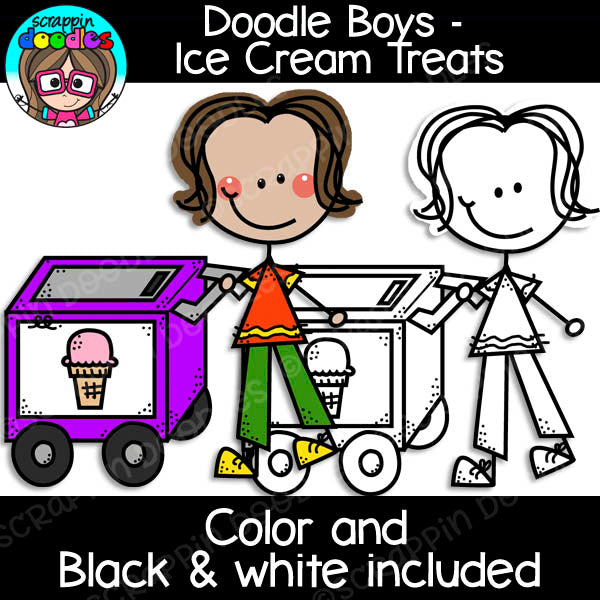 Doodle Boys - Ice Cream Treats Clip Art Stick Kids