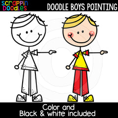 Doodle Boys - Kids Pointing Clip Art