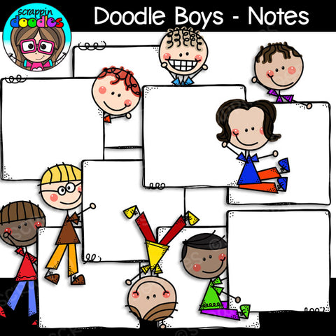 Doodle Boys - Notes Clip Art Stick Kids Figures