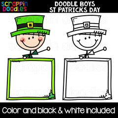 Doodle Boys St. Patricks Day Clip Art Kids Commercial Use