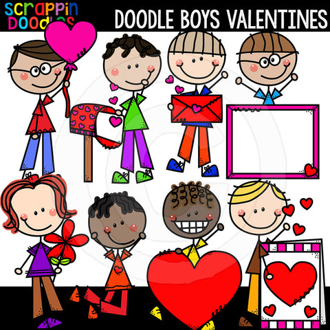 Doodle Boys Valentines Clip Art Kids Commercial Use