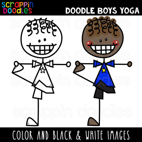 Doodle Boys Doing Yoga Poses Clip Art