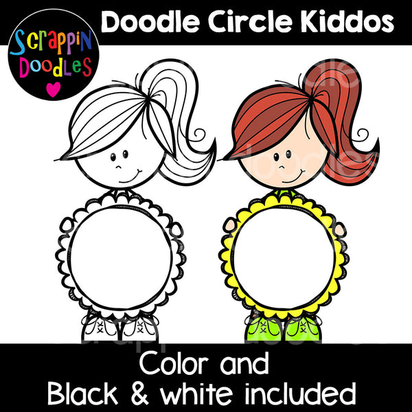 Doodle Circle Kiddos Clip Art - Circle kids