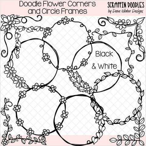 Doodle Flower Corners & Circle Frames Clip Art