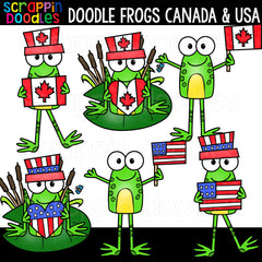 Doodle Frogs Canada & USA Clip Art