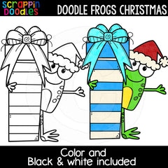 Doodle Frogs Christmas Clip Art