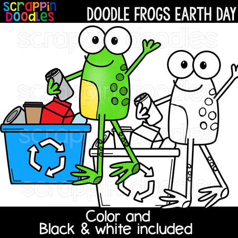 Doodle Frogs Earth Day Clip Art Commercial Use